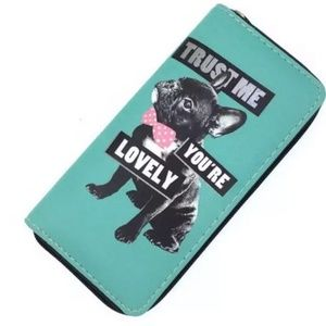 French Bulldog Teal Wallet Women's Long Zippered
